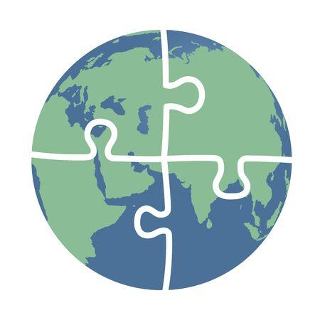 wereldbol: Dit is een aarde bestaat uit puzzelstukjes
