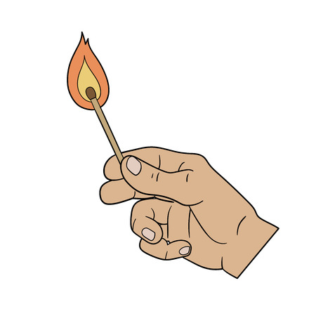 had: This is an illustration of a had holding burning match
