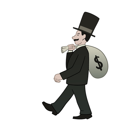 covetous: This is an illustration of businessman with bag of money Illustration