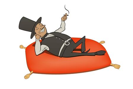 This is an illustration of rich man relaxation Иллюстрация