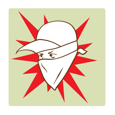 This is an illustration of Protesters face symbol Иллюстрация