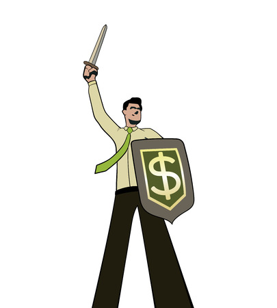 A businessman with a sword and a dollar shield