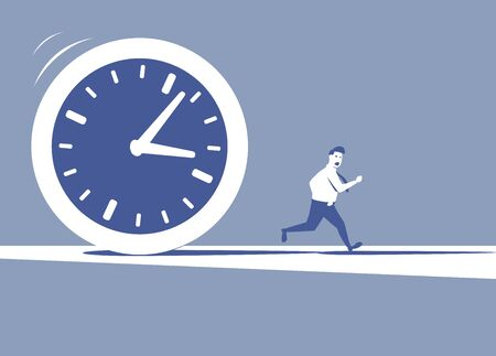 pursuing: This is an illustration of huge clock pursuing a manager