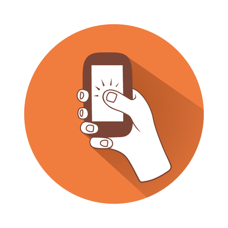 This is an illustration of hand tapping phone Иллюстрация
