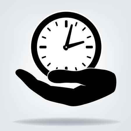 This is an illustration of Hand with clock