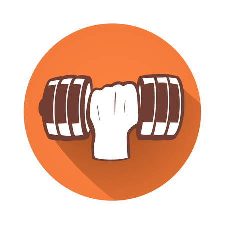 hand with dumbbell: This is an illustration of a hand with dumbbell