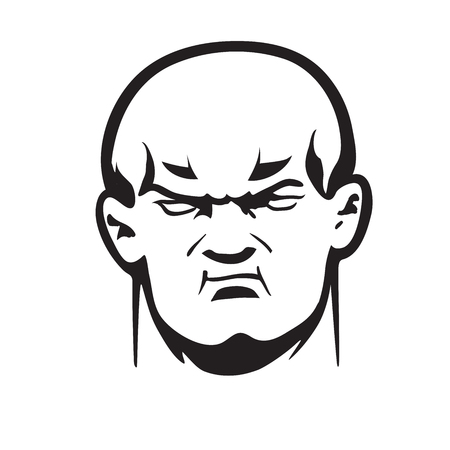 shaved head: This is an illustration of big bully head Illustration