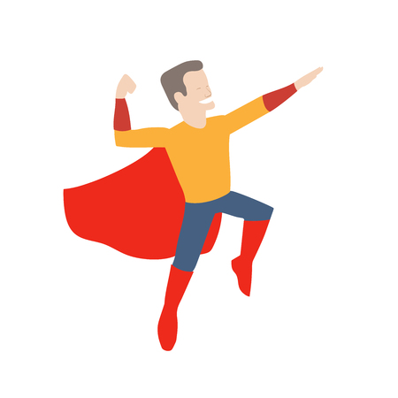 This is an illustration of superhero in midair