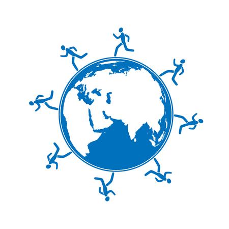 This is an illustratio of men running around globe