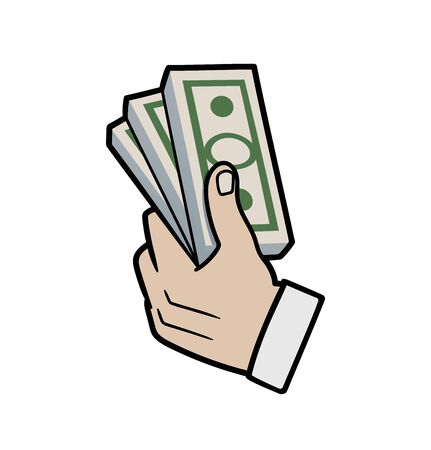This is an illustration of hand with money Иллюстрация
