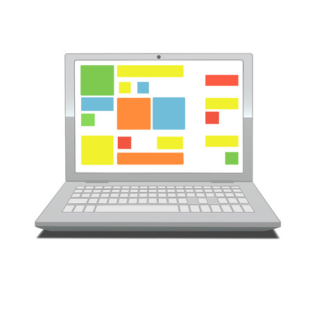 handsfree: This is an illustration of laptop screen with tiles Illustration