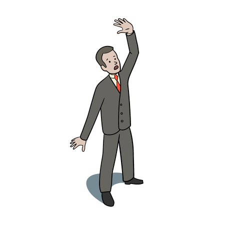 Illustration of Scared businessman