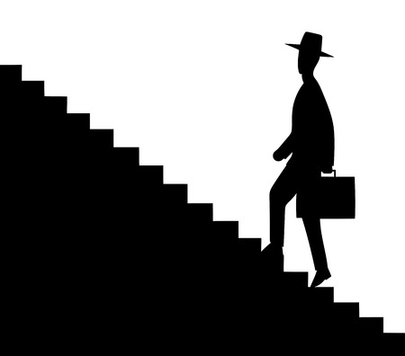 upstairs: This is an illustration of man getting upstairs