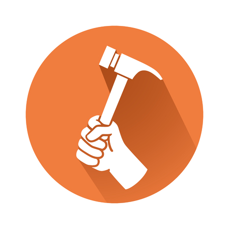 claw hammer: This is an illustration of a hand with hammer