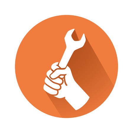 This is an illustration of a hand with wrench