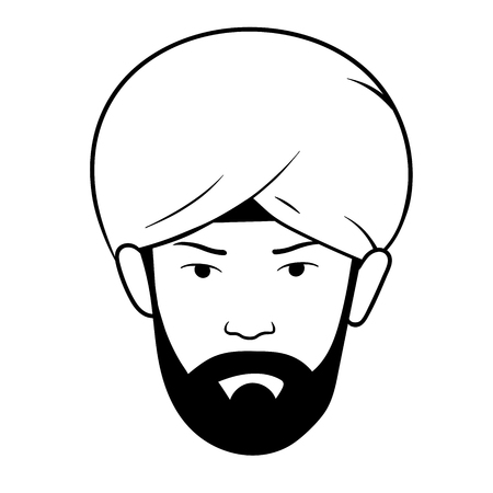 This is an illustration of mans head with turban