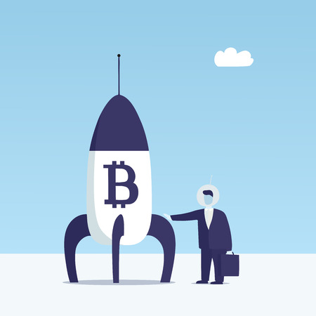 This is an illustration of a businessman and rocket with bitcoin sign.