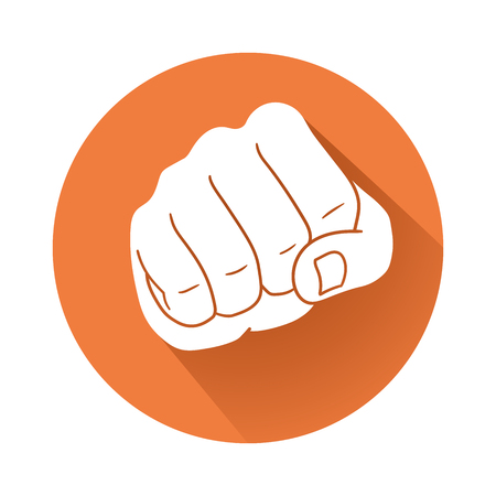 This is a fist symbolic illustration on an orange background.