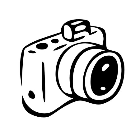 This is an illustration of photo camera drawing, white spaces are transparent.