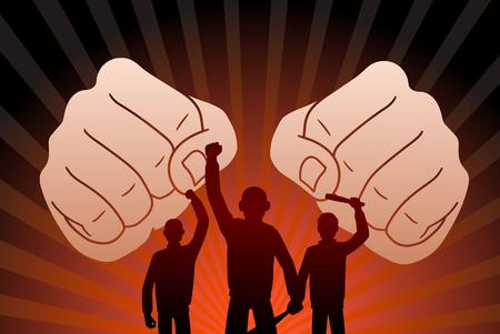 Combative protesters illustration.