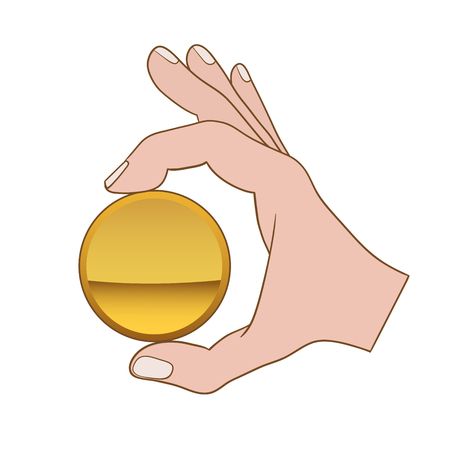 Hand with golden coin vector illustration.