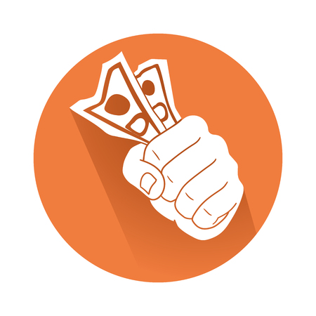 Hand with money illustration in round colored background.