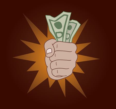 Hand with money vector illustration.