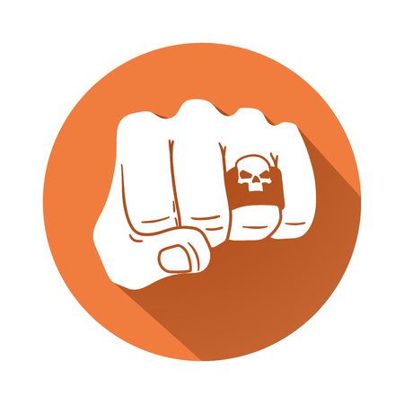 This is an illustration of a Fist with a skull ring