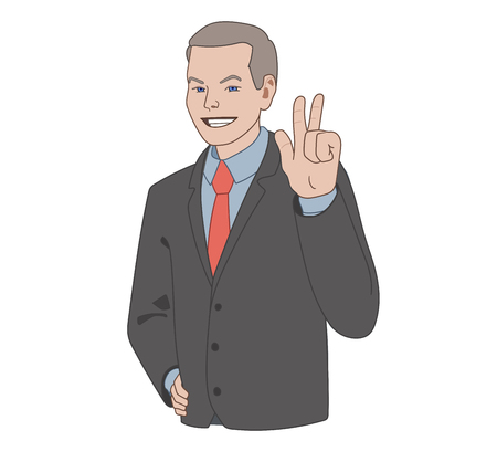 This is an illustration of a smiling businessman Stock Illustratie