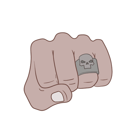This is a shaded illustration of a Fist with a skull ring