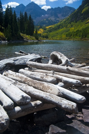 Logs piled up at the edge of a mountain lake