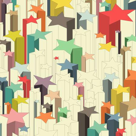 tiro al blanco: Conjunto de estrellas de la suerte multicolores. Vector de colores de fondo ilustración.