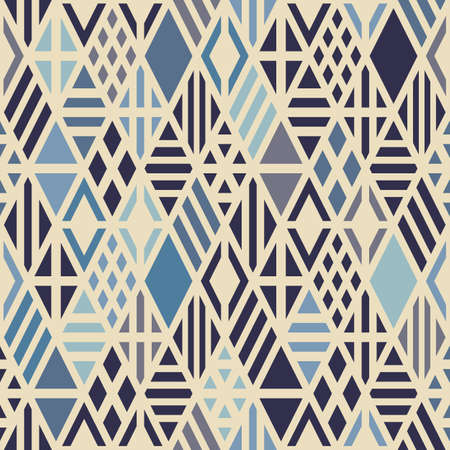 Geometric seamless pattern with rhombuses in blue trend colors. Vector background. Ilustração