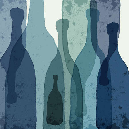 wine  shabby: Blue bottles. Watercolor silhouettes.