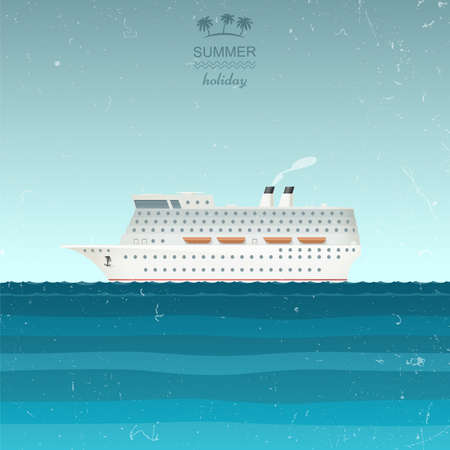 lifeboats: Cruise Ship illustration in retro style