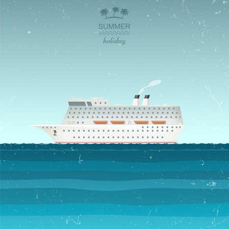 titanic: Cruise Ship illustration in retro style