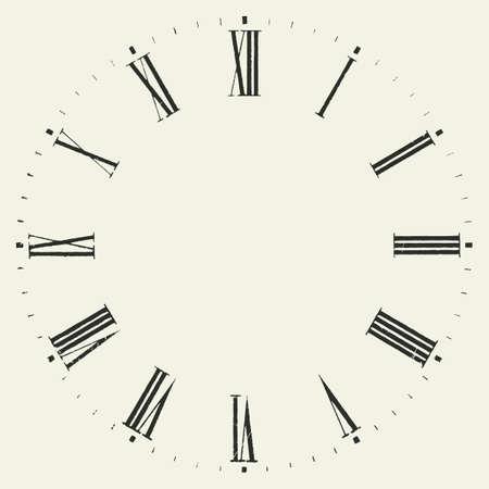 Weinlese-Zifferblatt. Vector römischen Zahlzeichen Uhr.