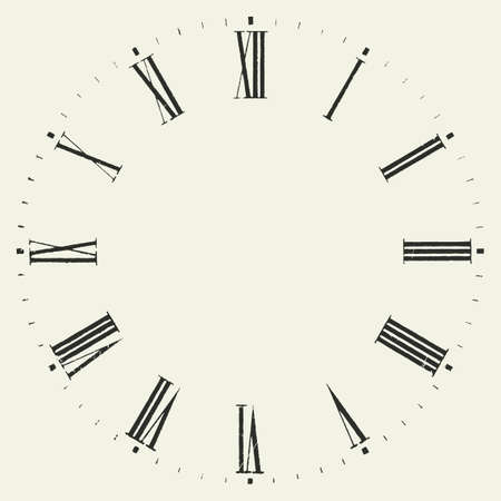 face silhouette: Vintage dial. Vector roman numeral clock.