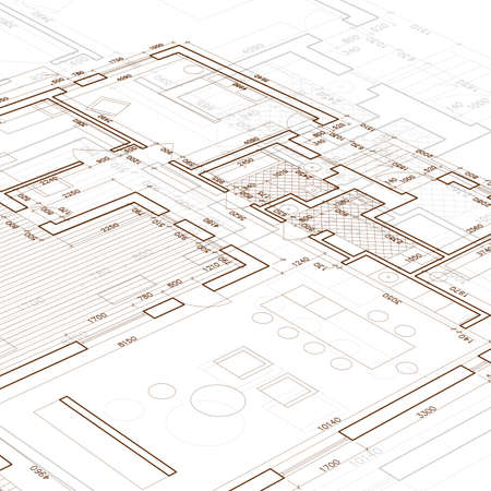 cad drawing: Architectural blueprint. Vector drawing background.