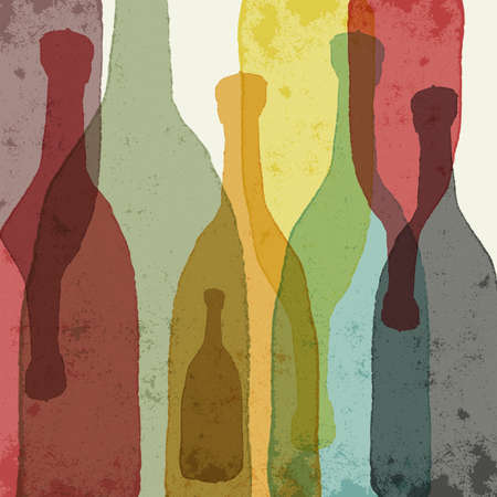 Bottles of wine whiskey tequila vodka. Watercolor silhouettes.  イラスト・ベクター素材