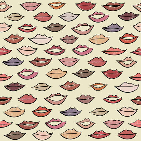 body wrap: Seamless pattern with colored lips. Illustration