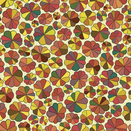 hape: Seamless pattern of abstract flowers. Colorful background in vector. Illustration