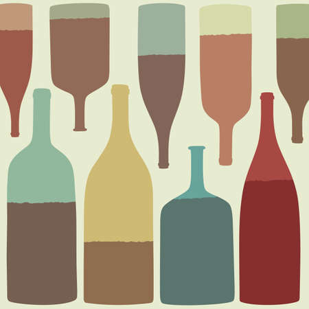 Glass bottles with wine. Vector silhouettes. Vector