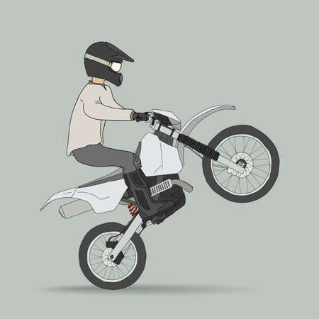 motocross riders: Biker on offroad motorcycles Illustration