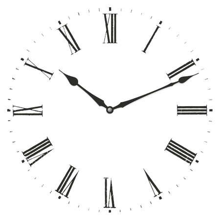 numeros romanos: Ilustración del Reloj. Aislado en el fondo blanco.