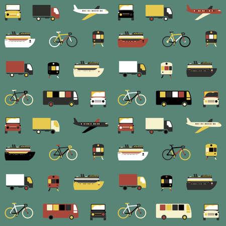 medios de transporte: Patrón transparente con coloridos iconos de transporte en el fondo verde. Vectores