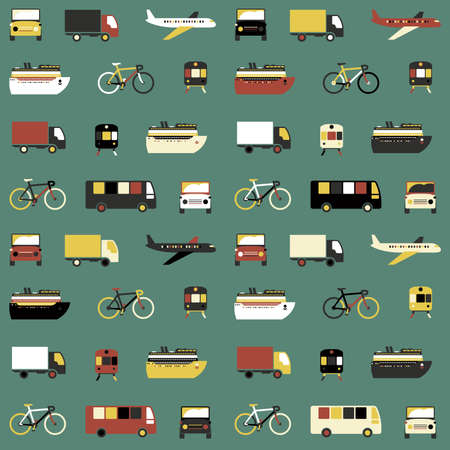 wrap vector: Seamless pattern with colorful transport icons on green background.