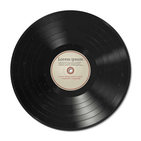 Vector illustration of a vinyl record with dust on the surface. Vector