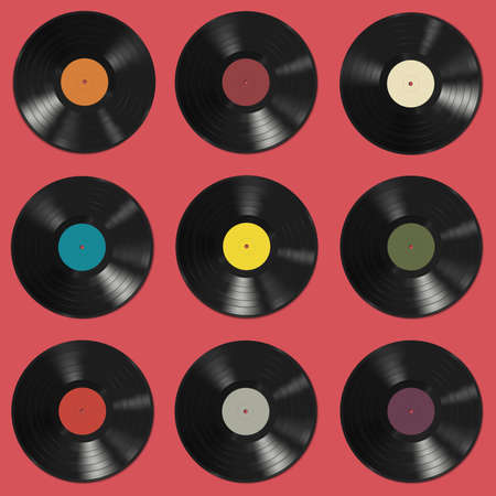 Vinyl records with colorful labels on red background. Seamless pattern.