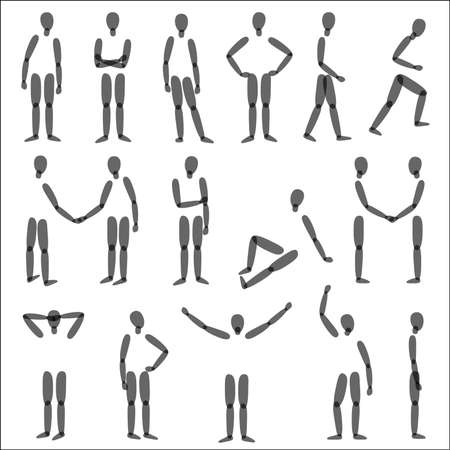 different figures: Human figures in different poses. Vector silhouette. Illustration
